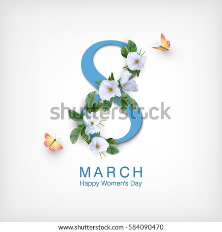 8 March. Happy Women's Day Floral Greeting card. International Holiday Illustration with Flower and  Stock photo © articular