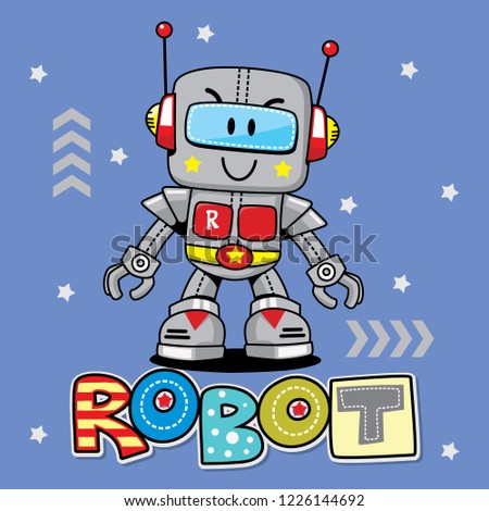 Funny cartoon robot. Cute retro robot. Robotic for children. Friendly android robot character with a Stock photo © designer_things