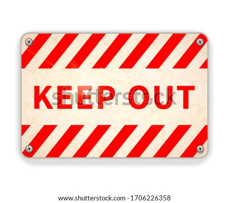 Bright glossy red and white metal plate, keep out warning sign on white Stock photo © evgeny89