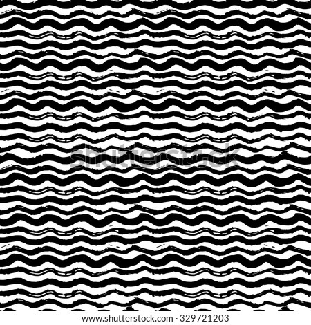 Hand Drawn Scattered Wavy Lines Monochrome Texture. Vector Seamless Black and White Pattern Stock photo © samolevsky