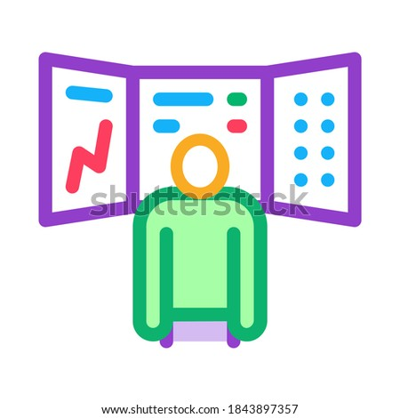 promotion board and observing person icon vector outline illustration Stock photo © pikepicture