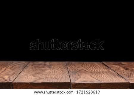 Mesa de madeira preto lata usado exibir montagem Foto stock © artjazz