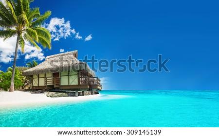 Cennet lüks plaj tatil tahiti ada Stok fotoğraf © Maridav
