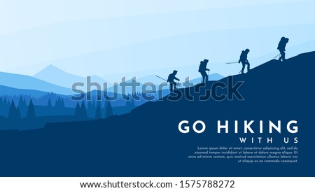 Silhouette traveling people. Climbing on mountain. Vector illustration hiking and climbing team Stock photo © robuart