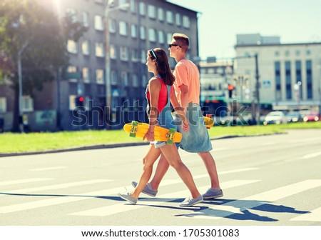 Para miasta przejście dla pieszych lata kontakty Zdjęcia stock © dolgachov