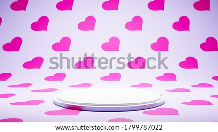 Empty White Platform on Colorful Heart Pattern Studio Background Stock photo © make