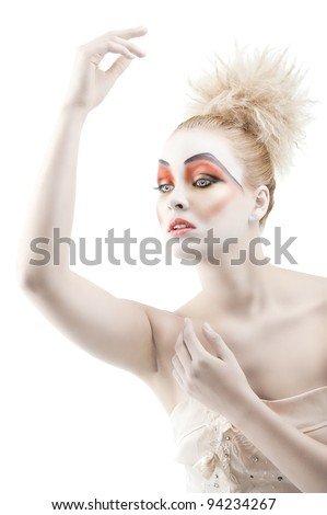 beautiful blonde woman with hair style turned of three quarters Stock photo © carlodapino
