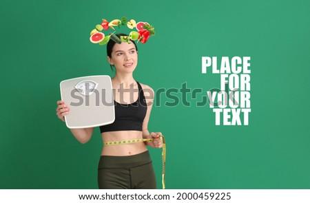 mulher · banheiro · balança · feliz · esportes - foto stock © wavebreak_media