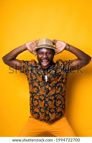 casual man putting a straw in his mouth stock photo © feedough