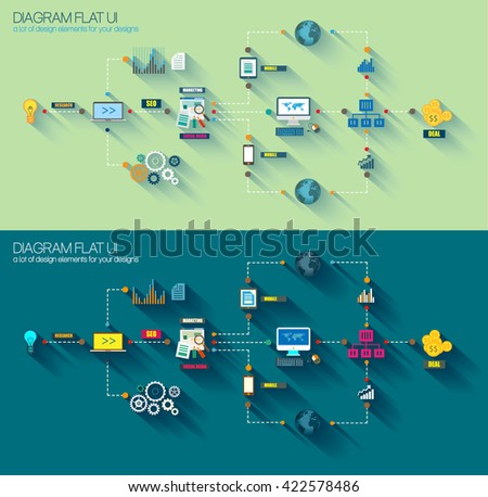 flat style infographic ui icons to use for your business project stock photo © davidarts
