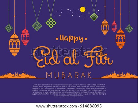 Eid-Ul-Fitr Vector Illustration Greeting Card Stock photo © rizwanali3d