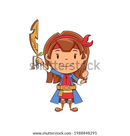 pretty pirate girl holding sword isolated on white stock photo © elnur