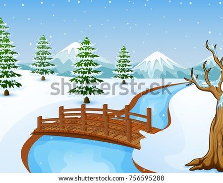 Bridge over winter river Stock photo © Paha_L