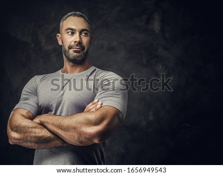 Musculaire homme torse nu regarder caméra sport Photo stock © goir