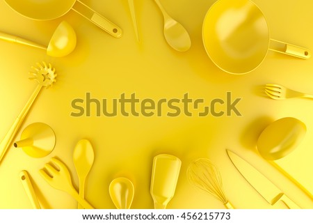 Stock photo: Frame made out of different kitchen tools. Top view. 3D illustra