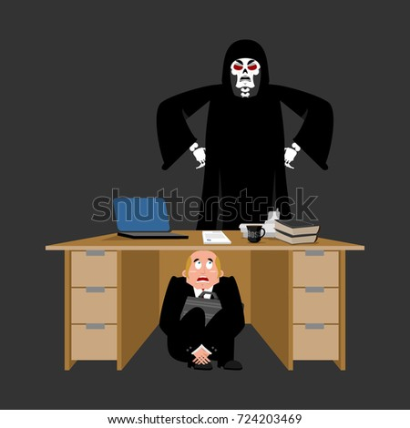 businessman scared under table of grim reaper frightened busine stock photo © popaukropa