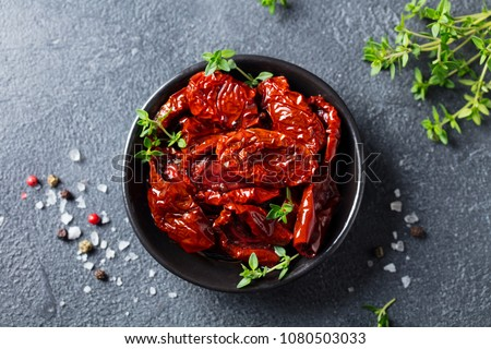Stockfoto: Zwarte · olijven · gedroogd · tomaten · kom · witte · plantaardige