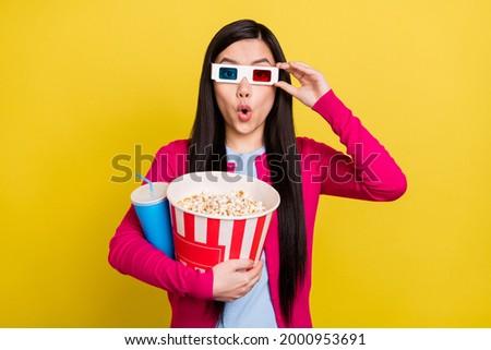 Geschokt dame cola popcorn 3d-bril Stockfoto © deandrobot