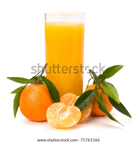 Tangerines, peeled tangerines and tangerine juice in glass. Mandarine juice. Stock photo © yelenayemchuk
