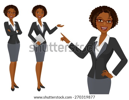 gelukkig · afro-amerikaanse · zakenvrouw · karakter · tablet · computer - stockfoto © nikodzhi
