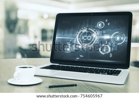ICO, Laptop with abstract ICO interface on screen. Initial coin offering concept, vector illustartio Stock photo © ikopylov