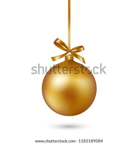Goud christmas bal boeg witte Stockfoto © fresh_5265954