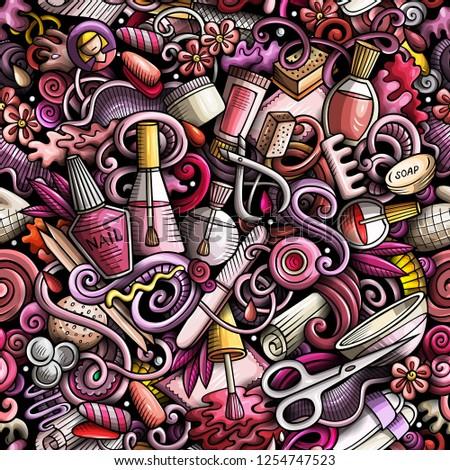 rajz · firkák · manikűr · végtelen · minta · aranyos · kézzel · rajzolt - stock fotó © balabolka