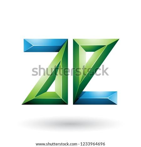 blue and green 3d geometrical embossed letter e vector illustrat stock photo © cidepix