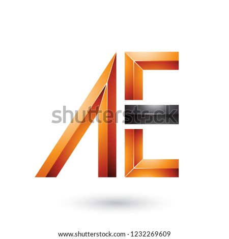 Orange and Black Glossy Dual Letters of A and E Vector Illustrat Stock photo © cidepix