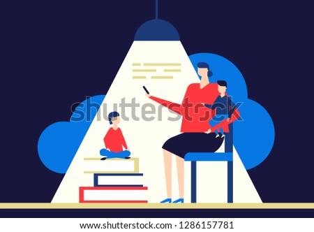 moeder · dochter · lezing · moeder · boek · weinig - stockfoto © decorwithme