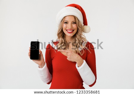 emotional excited young cute snow maiden using mobile phone isolated stock photo © deandrobot