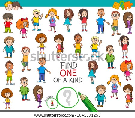 one of a kind game with cartoon kids and teens Stock photo © izakowski