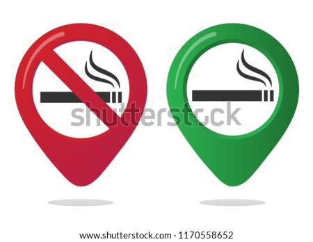 Sigara içme ok işareti yalıtılmış beyaz arka plan imzalamak Stok fotoğraf © kyryloff