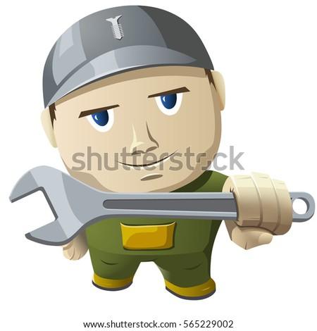 Zwart wit monteur reusachtig sleutel Stockfoto © hittoon