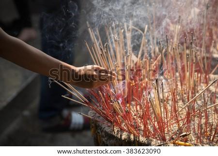 香 · スティック · ポット · 燃焼 · 煙 - ストックフォト © galitskaya