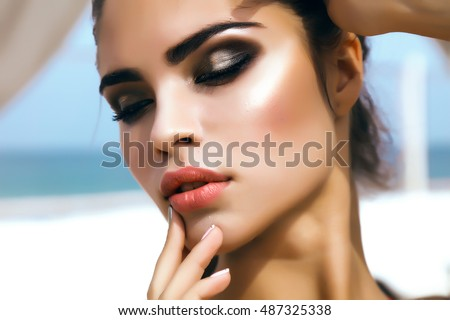 close up of beautiful full womans lips with bright fashion gloss pink makeup macro shot with magen stock photo © serdechny