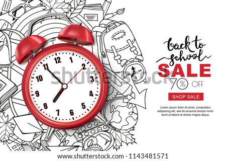 Back to school sale template. Realistic red alarm clock on outline doodle school background, vector  Stock photo © ikopylov