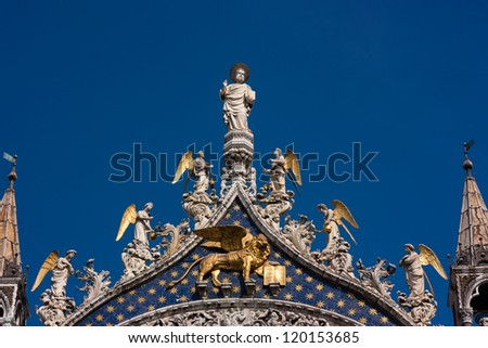 Statues on the top of St Mark`s Basilica at Venice, Italy Stock photo © boggy