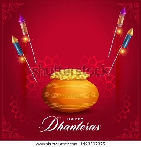 creative dhanteras festival card design with rocket fire cracker Stock photo © SArts