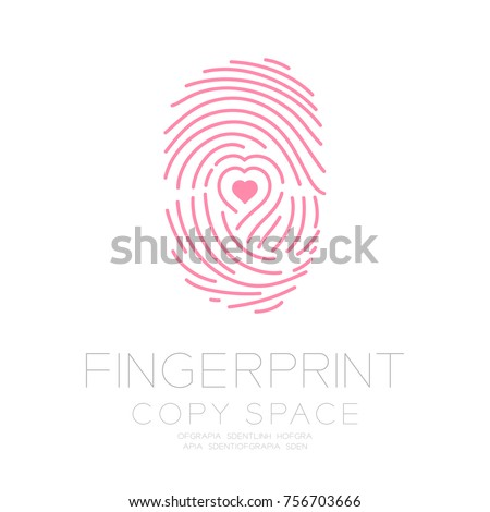 Vingerafdruk scannen ingesteld liefde hart symbool Stockfoto © kyryloff