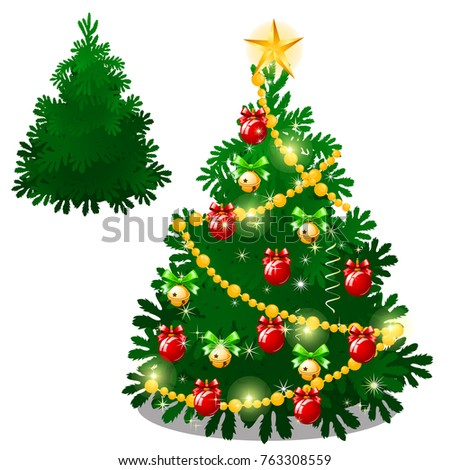 Set of empty and brightly decorated Christmas tree with baubles isolated on white background. Sketch Stock photo © Lady-Luck