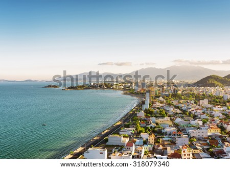 Beautiful view on Nha Trang and Bay of the South China Sea blue sky background in Khanh Hoa province Stock photo © galitskaya