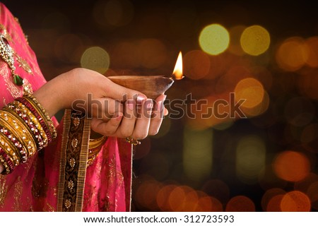 happy diwali festival celebration background with temple design Stock photo © SArts