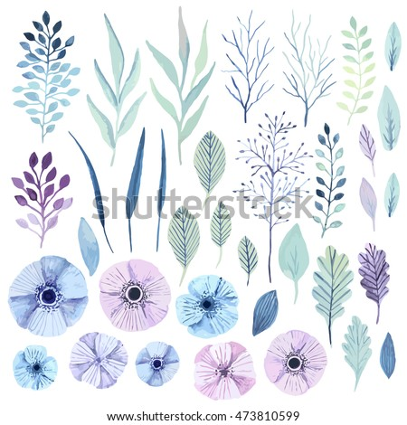 Pink floral bouquet Vector watercolor. Blue leaves delicate decoration. Provence rustic boho poster. Stock photo © frimufilms