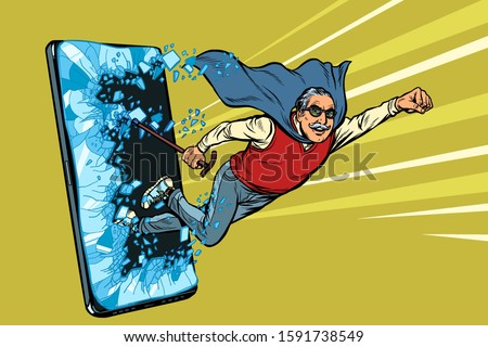 Online service for pensioners concept. Old man punches the screen of the smartphone Stock photo © studiostoks