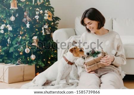 фото брюнетка женщину Рождества настоящее Сток-фото © vkstudio