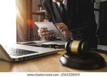 Justice and law concept, Male judge in a courtroom striking the  Stock photo © JanPietruszka
