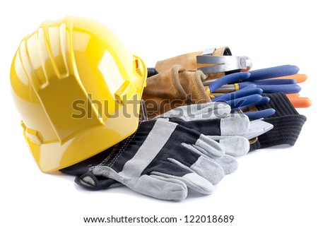Stock photo: Contractor With Tool Belt, Hard Hat and Gloves Isolated on White