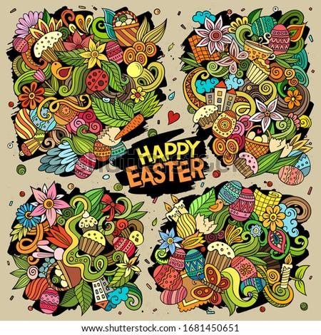 Vector doodles cartoon set of Happy Easter combinations of objects Stock photo © balabolka