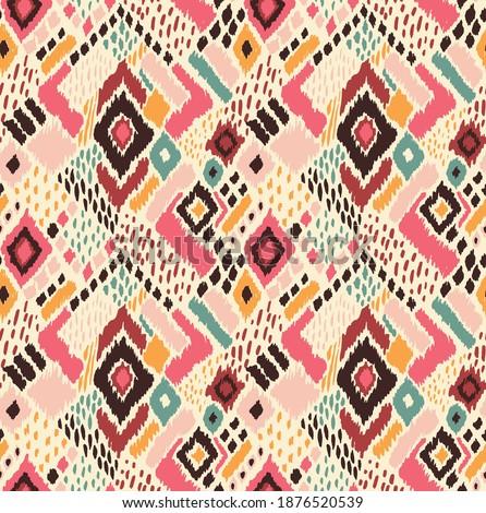 Abstract ethnic rug ornamental seamless pattern. Vector vintage background. Stock photo © balabolka